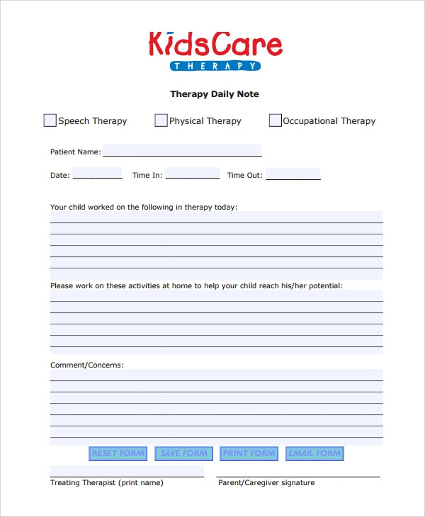 Sample Therapy Note Template   Free Documents Download In Pdf Word