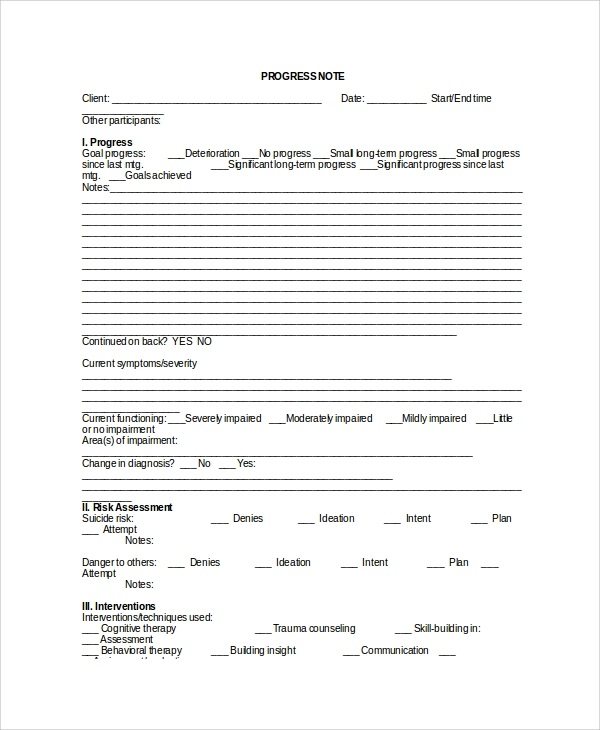 Sample therapy note template 5 free documents download for Clinical notes template