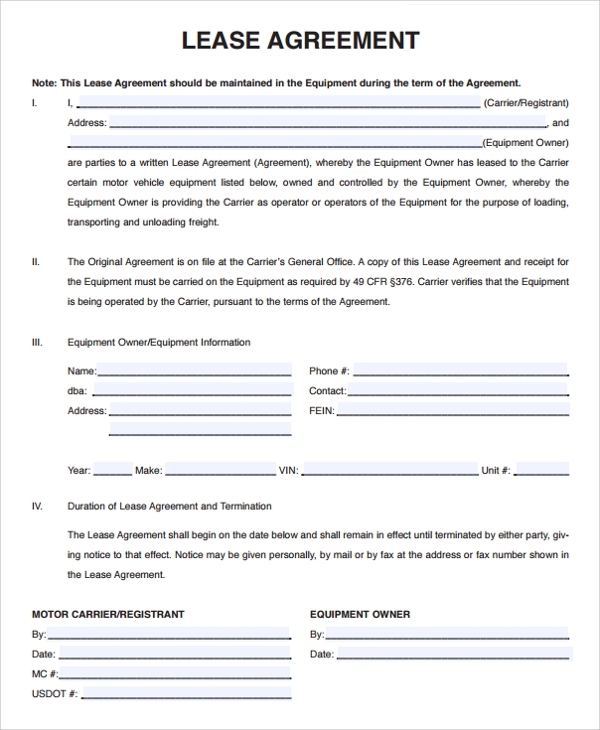 Standard Owner Operator Lease Agreement  Lease Agreement Printable