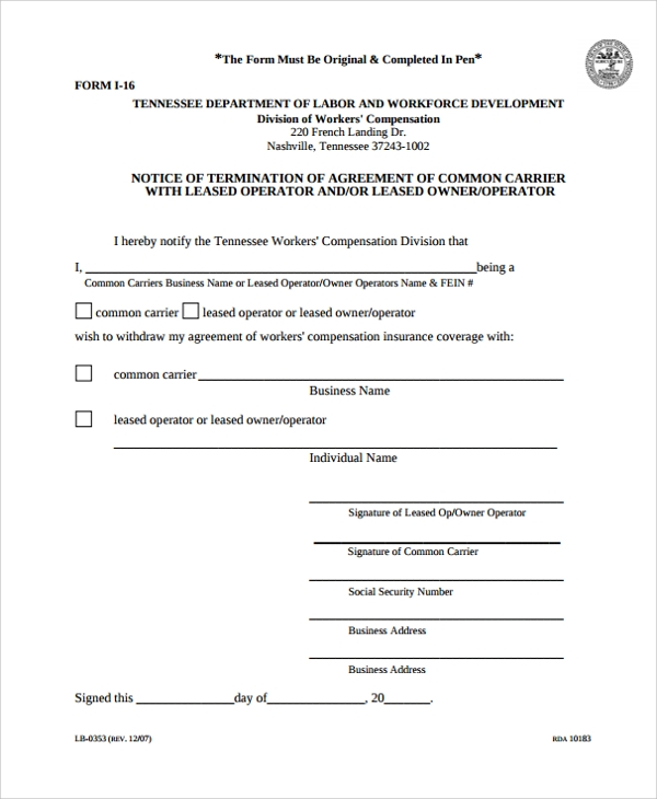 owner operator lease agreement termination