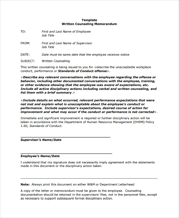 Attractive Employee Memorandum Template