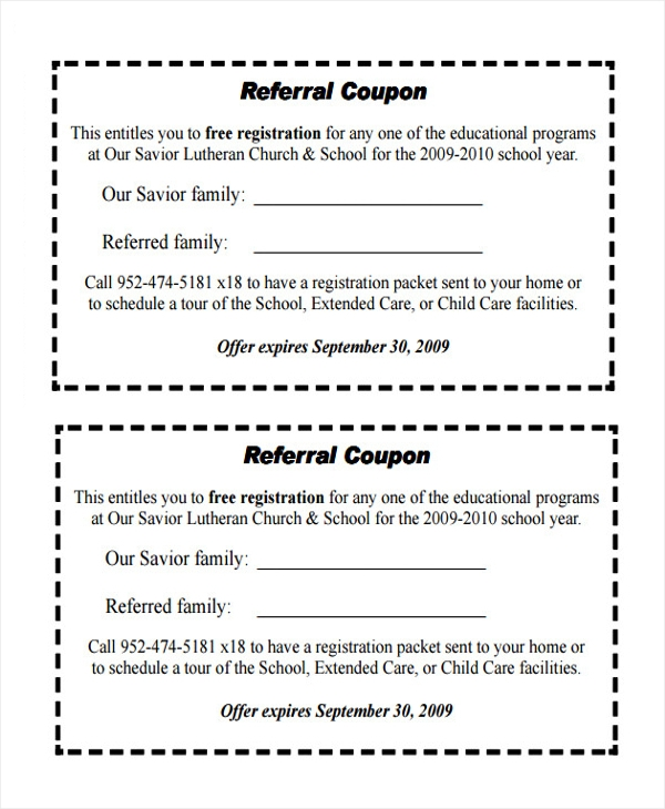 Sample Referral Coupon Template   Download In Pdf Psd