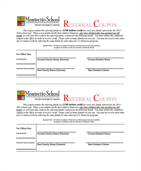 school referral coupon template