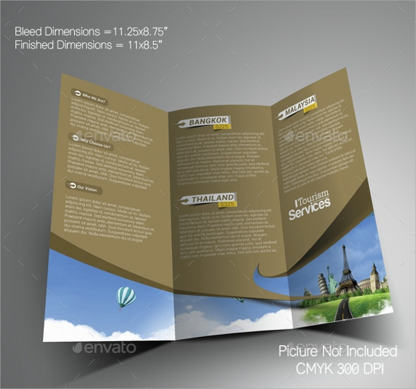 tourism service trifold brochure template