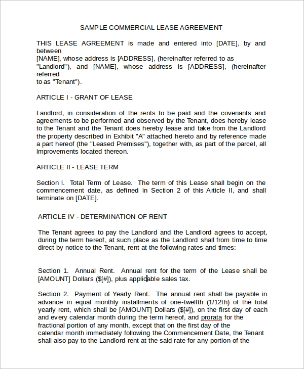 Sample Business Rental Agreement Template   Free Documents