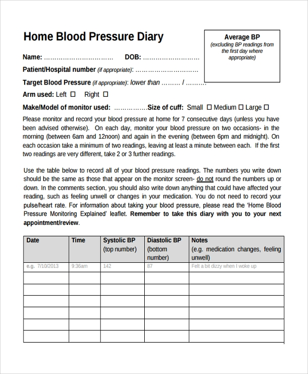 Sample Blood Pressure Chart Template   Free Documents In Pdf Word