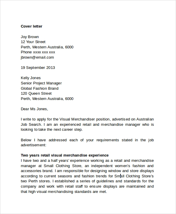 Sample Retail Management Cover Letter - 6+ Free Documents Downloads ...