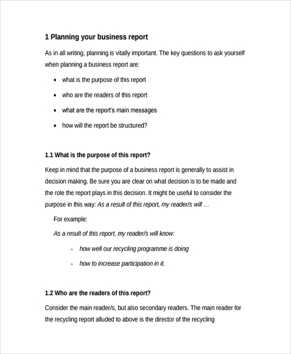Sample Professional Report Template 8 Free Documents