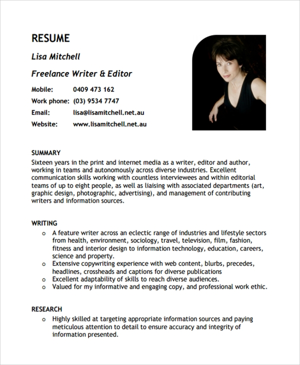Sample Freelance Resume Template   Free Documents Download In Pdf