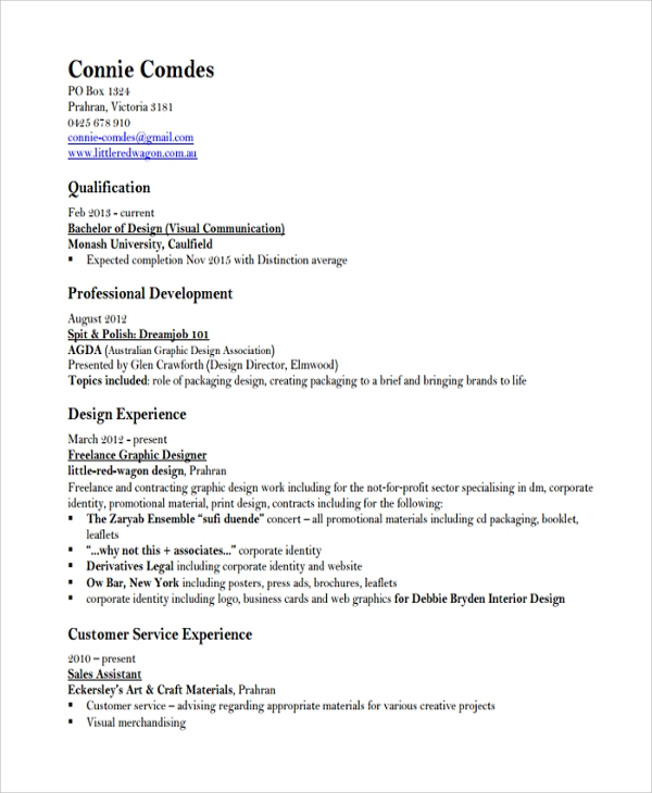 graphic designer resume sample pdf