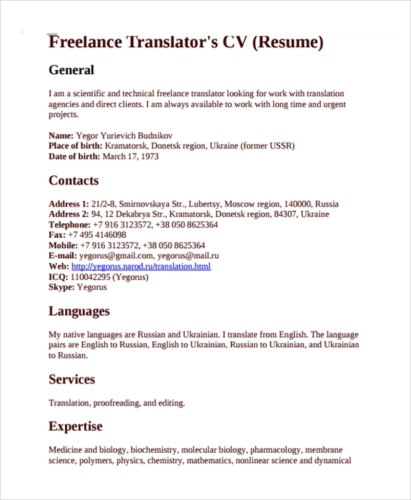 9 freelance resume templates sample templates With freelance translator resume