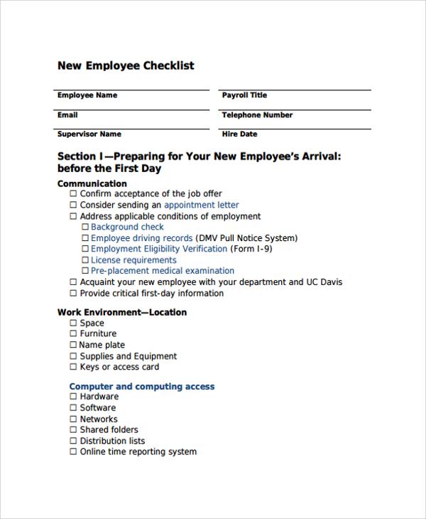 sample new employee checklist template