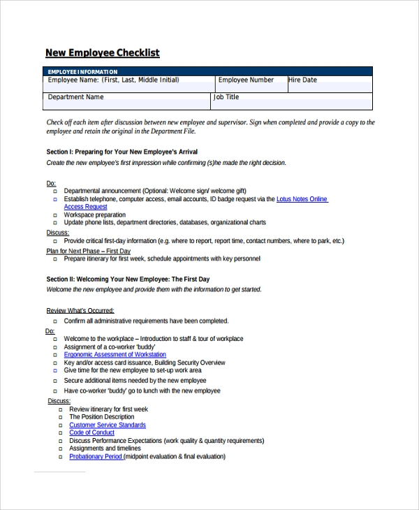 Sample New Employee Checklist   Free Documents Download In Pdf