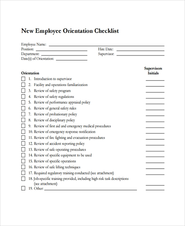 free 20  sample new employee checklists in pdf