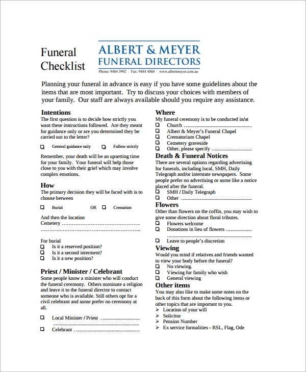 sample funeral checklist template 13 documents in pdf psd word