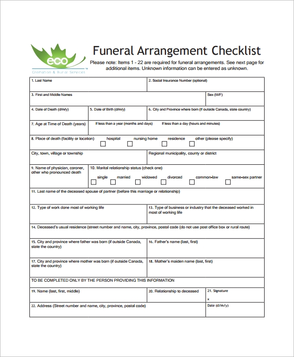 funeral service sheet template - 13 funeral checklist templates sample templates