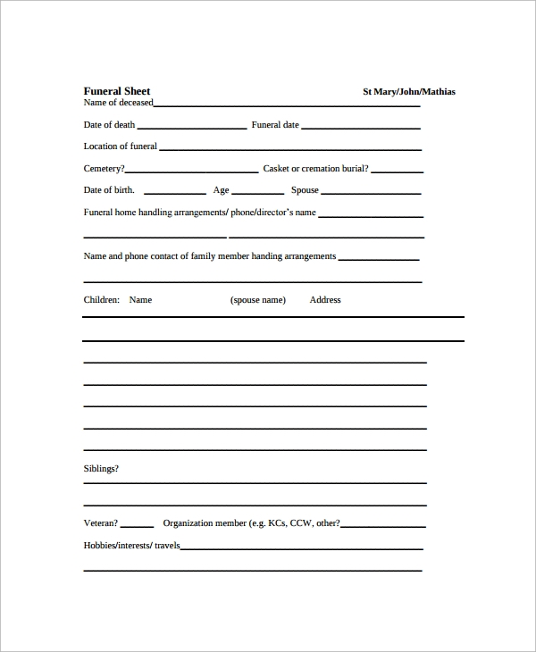 Sample Funeral Checklist Template 13 Documents in PDF PSD WORD – Funeral Checklist Template