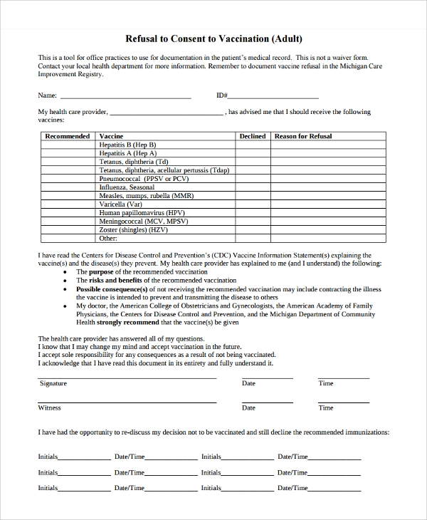 vaccine refusal consent form