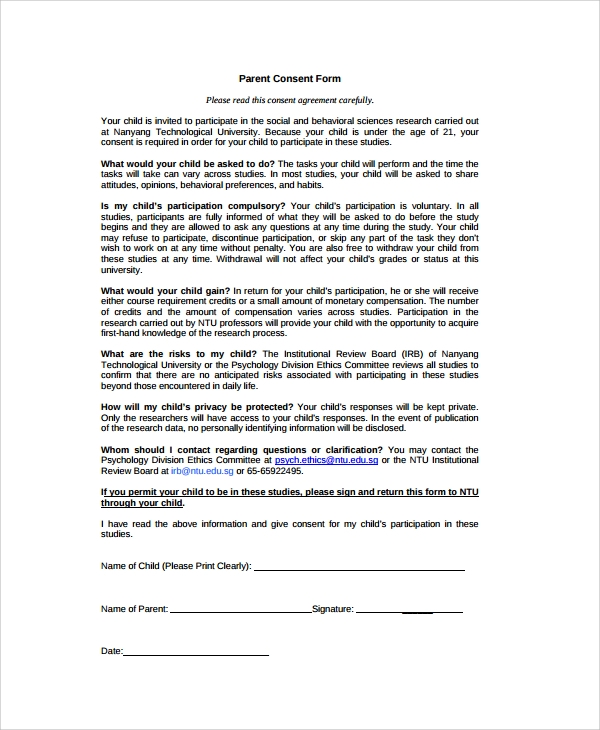 Parental Consent Form Permission Slip Permission Slip Templates