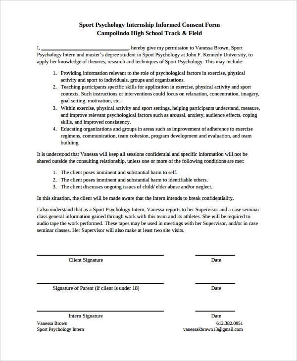 Consent Form Sport Psychology Consent Form Sample Psychology