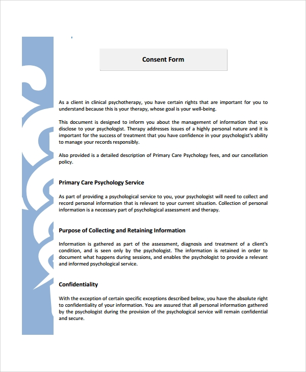 psychology consent form template