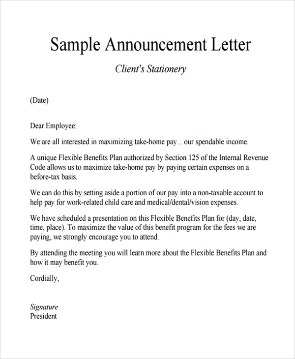 Sample Announcement Letter Template 9 Free Documents Download – Announcement Letter Samples