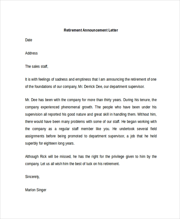 sample announcement letter template