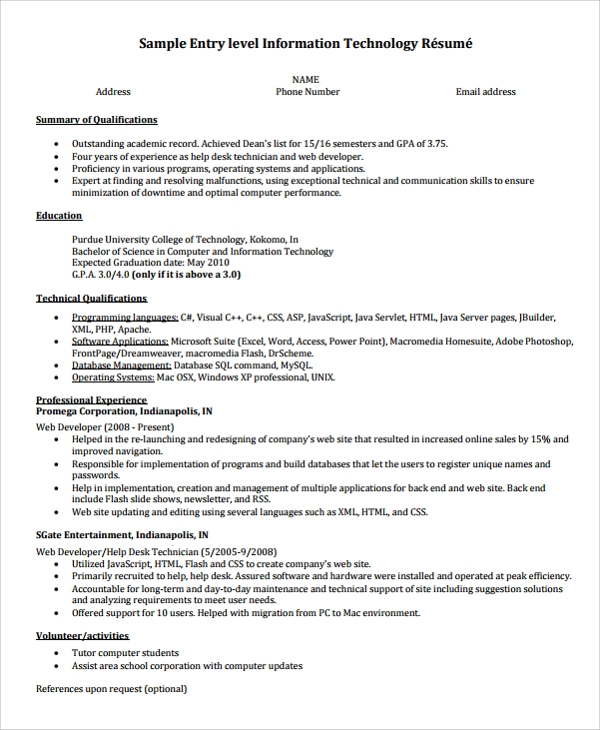 College Graduate Entry Level Resume