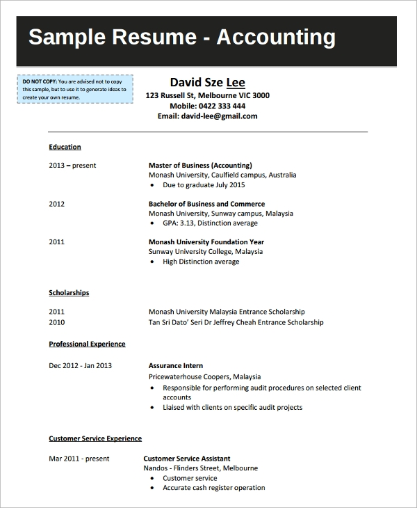 Merveilleux College Graduate Accounting Resume