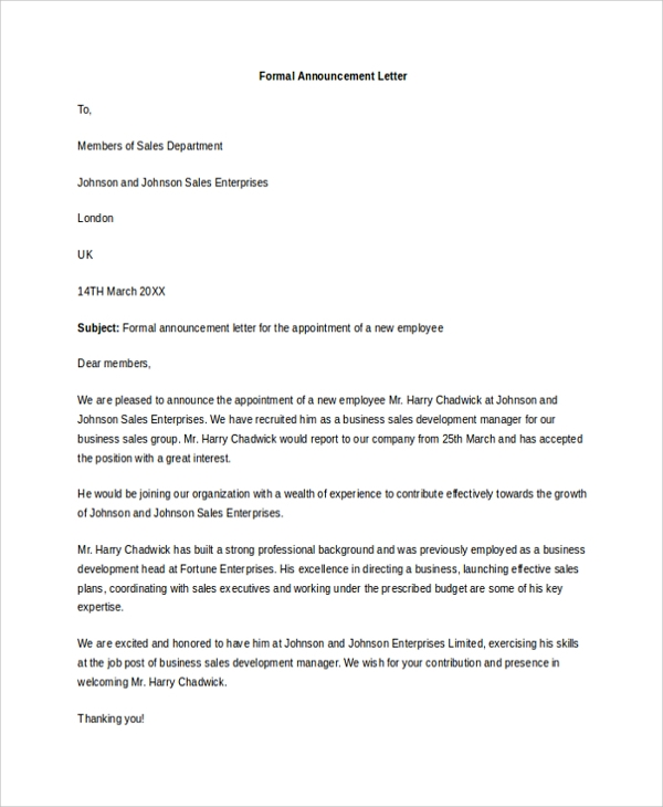 Sample Announcement Letter Template 9 Free Documents
