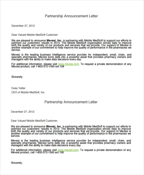 Sample Announcement Letter Template - 9+ Free Documents Download ...