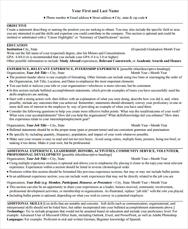 Sample College Graduate Resume - 8+ Free Documents Download In
