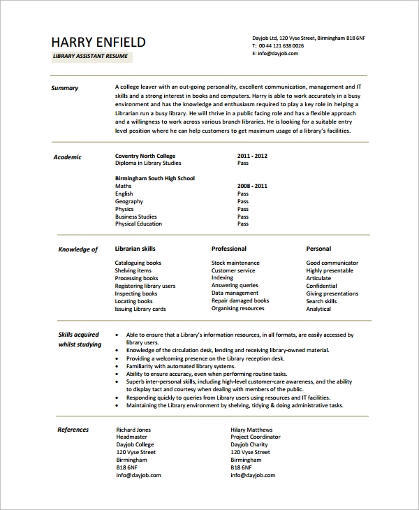 Library Resume Sample  Resume For Library Assistant