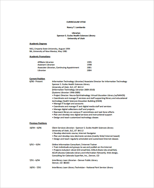 free 9  sample librarian resume templates in ms word