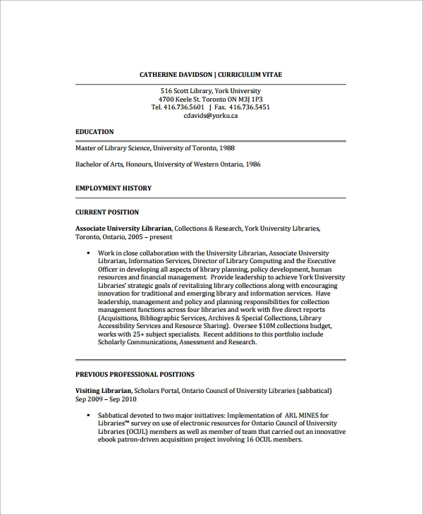 10 librarian resume sample templates