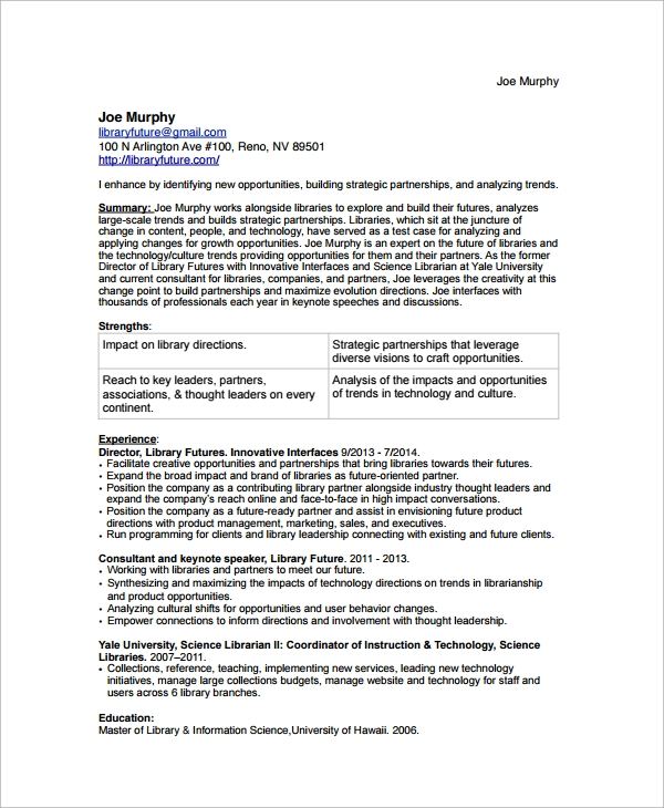 sample librarian resume