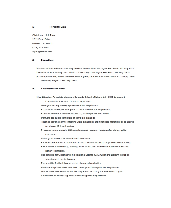 map librarain resume