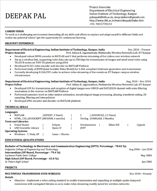 sample college graduate resume