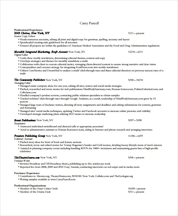 copy editor resume templates - Videographer Resume Template