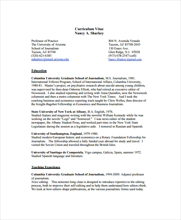 Sample Copy Editor Resume 7 Free Documents Download In