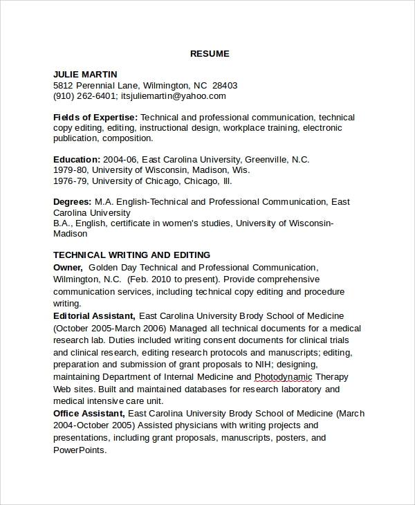 sample copy editor resume