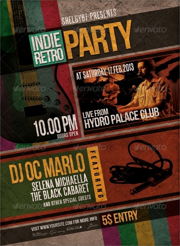 modern retro party flyer template