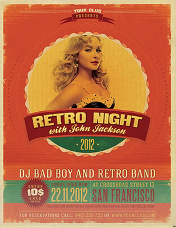 creative retro style party flyer