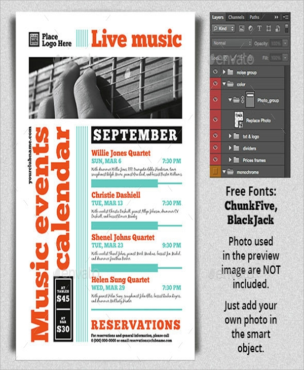 17 calendar flyer templates sample templates for Sample calendar of events template