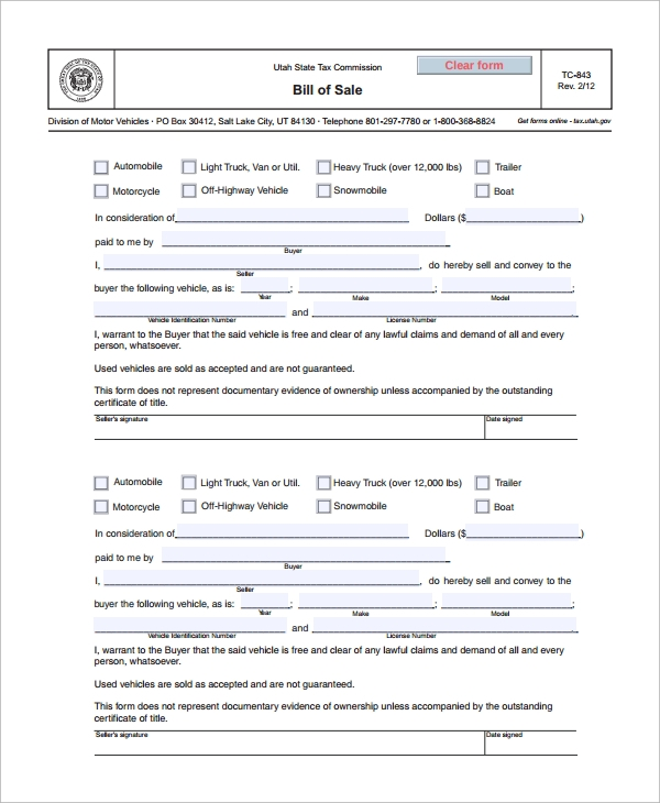 blank motorcycle bill of sale form