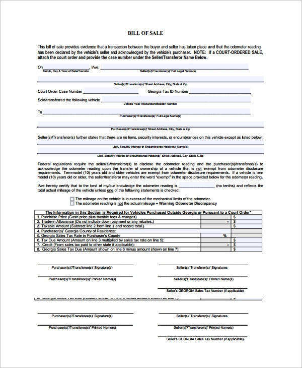 Sample Motorcycle Bill Of Sale - 7+ Free Documents Download In Pdf