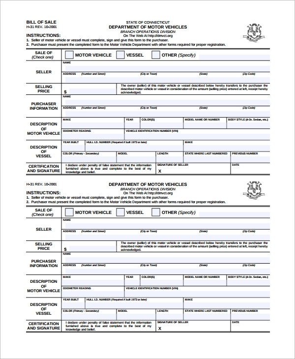 Sample Motorcycle Bill Of Sale 7 Free Documents