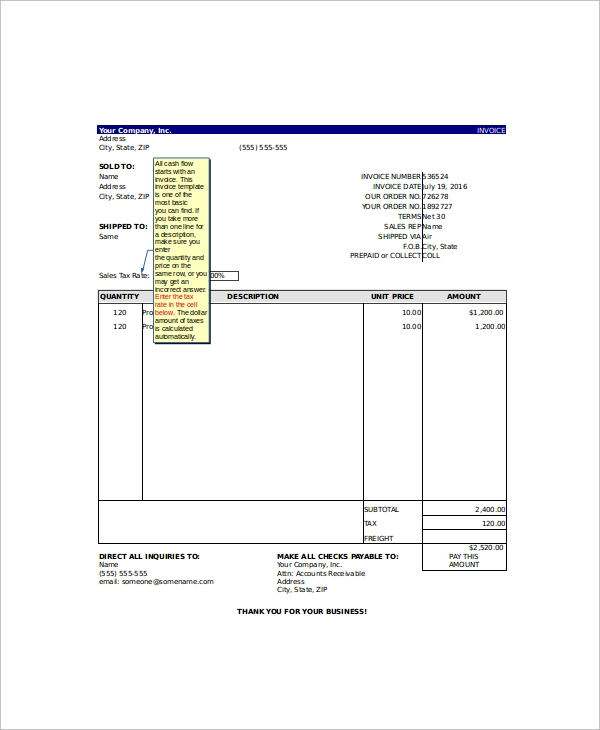 Microsoft Excel Invoice Template Free | Sample Excel Invoice Template 9 Free Documents Download In Excel