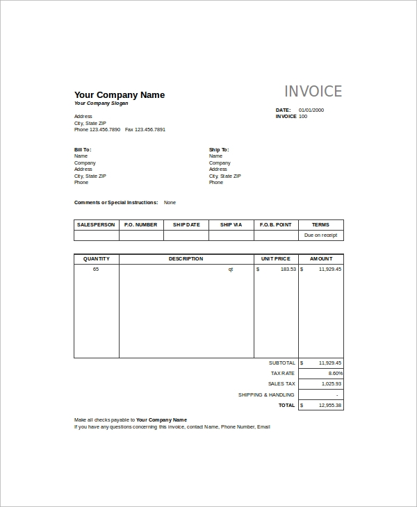 Sales Invoice Template Excel Excel