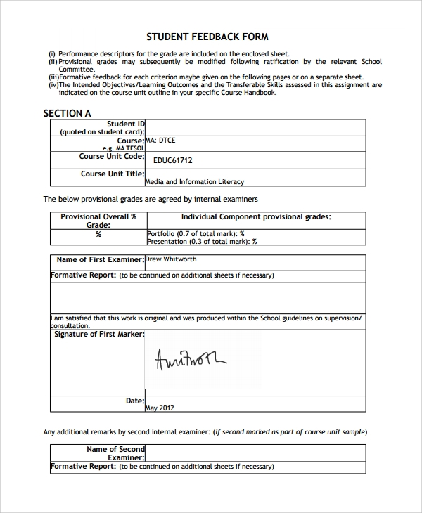 Sample Students Feedback Form   Free Documents Download In Pdf